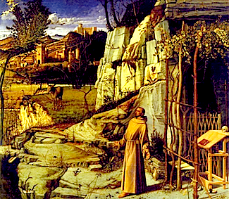 http://en.wikipedia.org/wiki/File:Bellini,_Giovanni_~_St_Francis_in_the_Desert,_c1480,_Tempera_and_oil_on_panel_Frick_Collection,_New_York.jpg