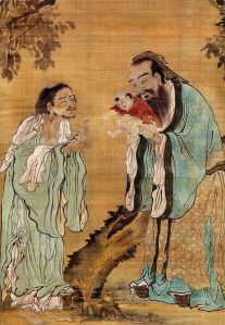 Kongfuzi presents the child Gautama Buddha to old Laozi.