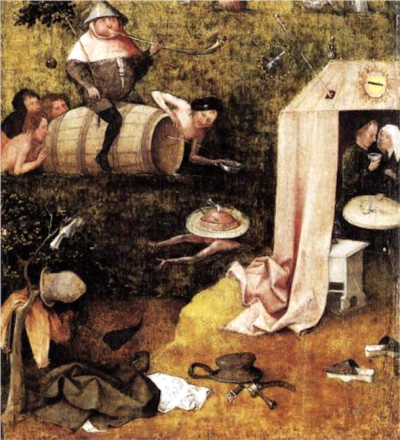 Allegory of Glutton and Lust by Hieronymus Bosch (1500). This artwork is in the public domain.
