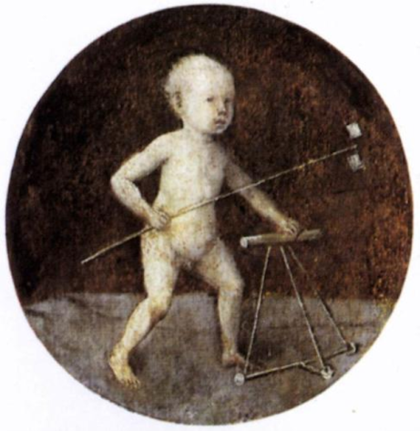 Christ Child Walking with Frame by Hieronymus Bosch. This artwork is in the public domain.
