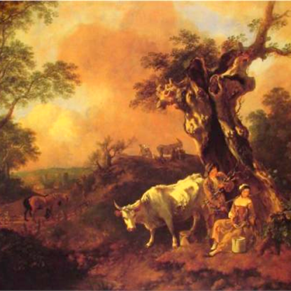 Landscape with a Woodcutter and Milkmaid by Thomas Gainsborough (1755).