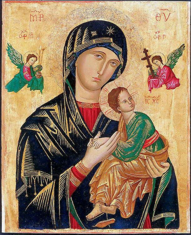 Our Holy Mother of Perpetual Help. A Byzantine ikon now the church of Sant'Alfonso di Liguori, in the Esquiline Hill, Rome, Italy.