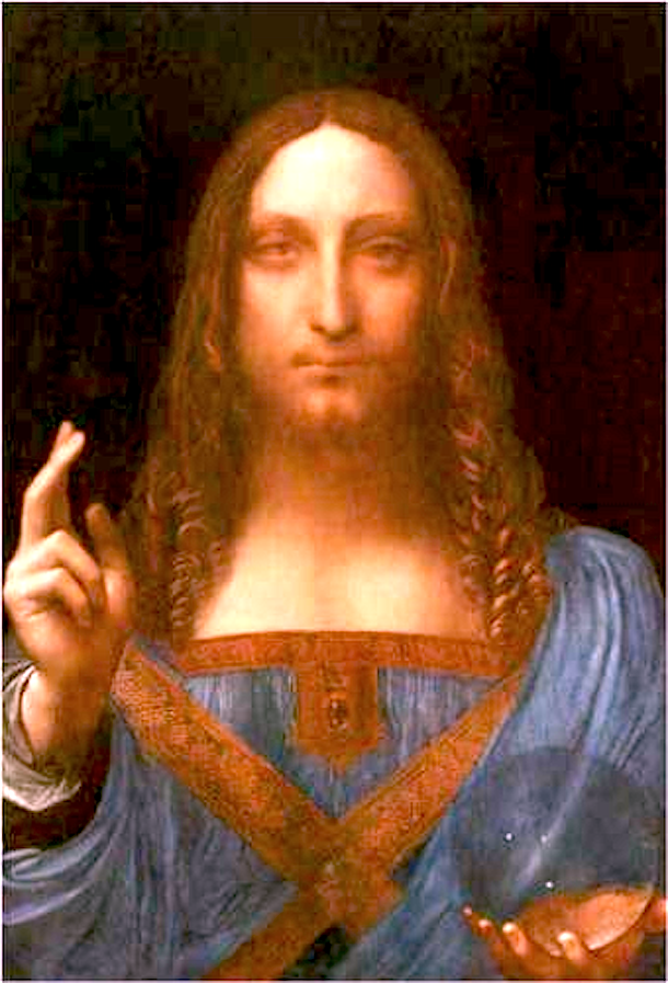 Recently rediscovered Salvator Mundi. More than likely by Leonardo Da Vinci (c. 1500). This work is in the public domain.