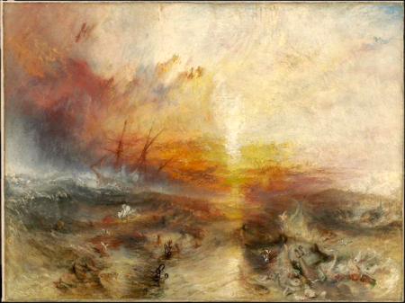 """""""Slave Ship (Slavers Throwing Overboard the Dead and Dying, Typhoon Coming On)"""" by Joseph Mallord William Turner (1840). Boston Museum of Fine Arts, http://www.mfa.org/"""