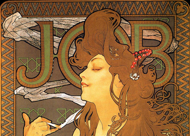 alphonse mucha cigarette job Alphonse mucha's job (figure 1) is a beautiful and stunning poster that was created in 1898 to advertise cigarette papers1 the eye first goes to a stylized woman that is holding a.
