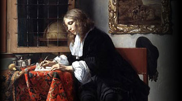 Man Writing a Letter by Gabriel Metsu. Courtesy of the National Gallery of Ireland. www.nationalgallery.ie © This work is in the public domain.