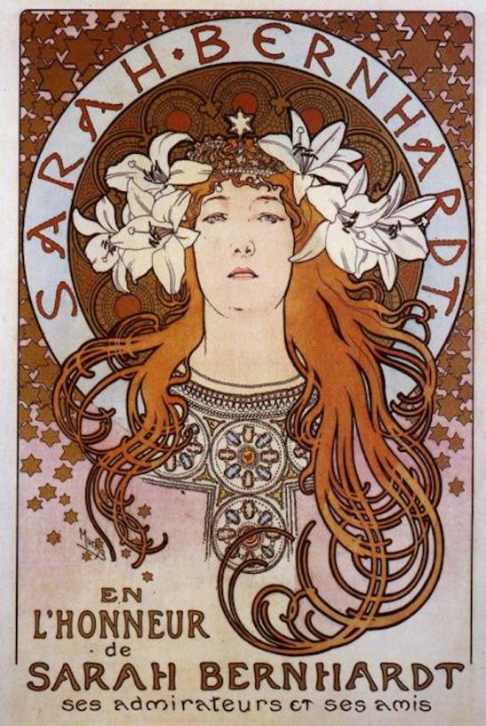Sarah Bernhardt by Alphonse Mucha (1896).