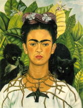 Self Portrait with Necklace of Thorns by Frida Kahlo (1940).