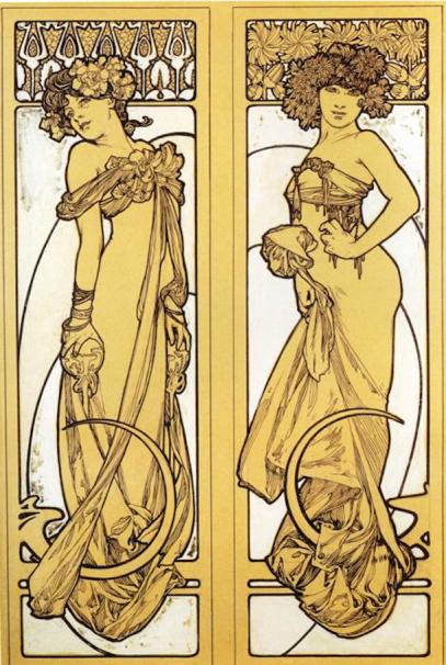 Two Standing Women by Alphonse Mucha (c. 1895).