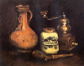 Still Life with Coffee Mill, Pipe Case, and Jug by Vincent van Gogh.
