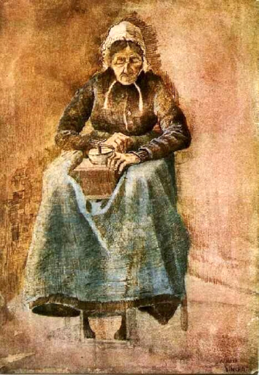 Woman Grinding Coffee by Vincent van Gogh