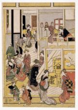 New Year Day at the Teahouse Ogi-ya by Katsushika Hokusai