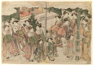 Courtesans Entourage at New Years Festival by Kitagawa Utamaro
