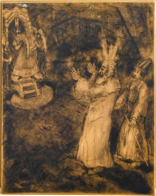 Moses and his brother come to Pharaoh and claim the freedom for the people of Israel (Exodus, V, 1-4) by March Chagall (1931).