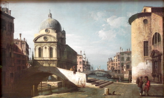 Venetian Capriccio, View of Santa Maria dei Miracoli, Bernardo Bellotto (c1740). © Public Domain