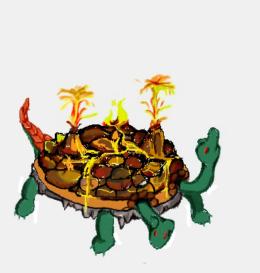 lava land mass turtle