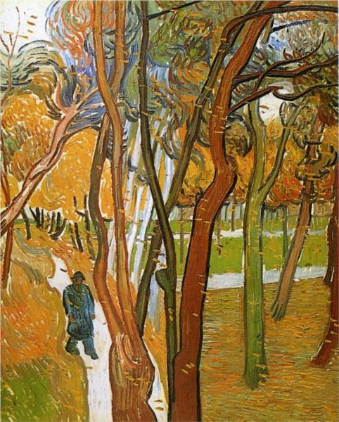 """""""The Walk-Falling Leaves"""" by Vincent van Gogh (1889)"""