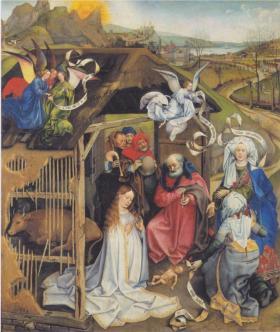 Adoration of Shepherds, Robert Campin (1420)