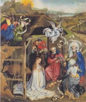 Adoration of Shepherds, Robert Campin (1420)