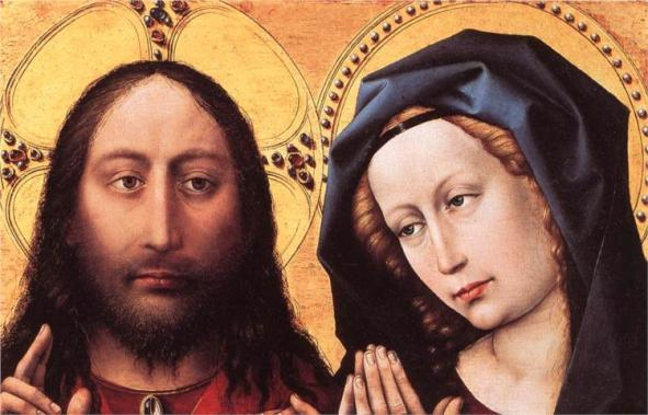 Blessing Christ and Praying Virgin, Robert Campin