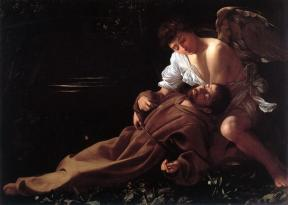 Saint Francis of Assisi in Ecstasy by Caravaggio (c 1595).