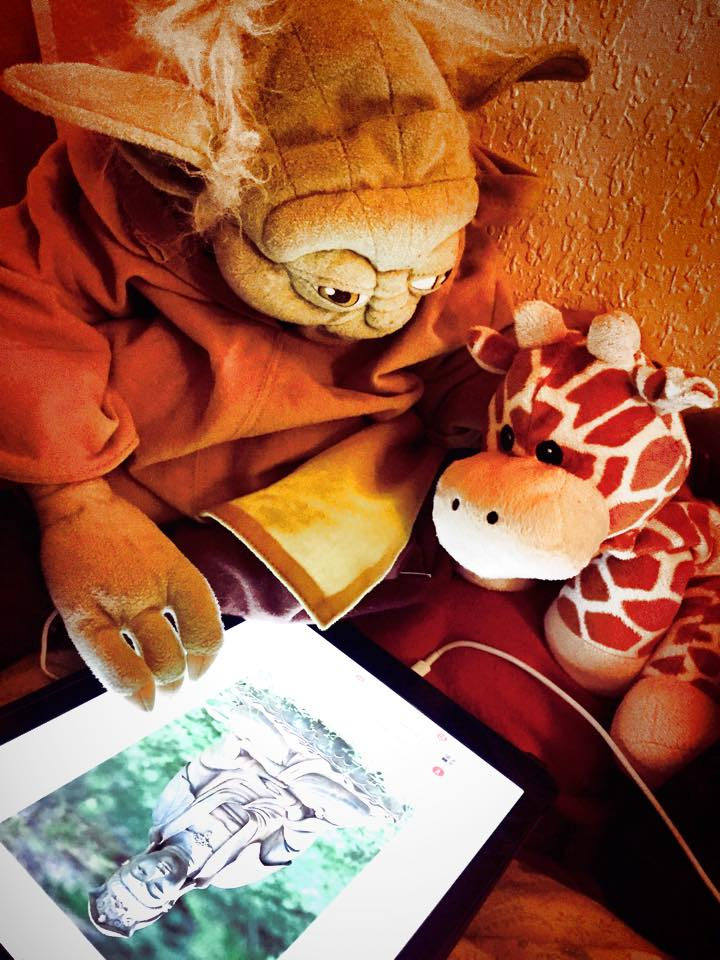 Master Yoda instructs Padawan Learner Jai'Raff in the spiritual traditions of Earth.