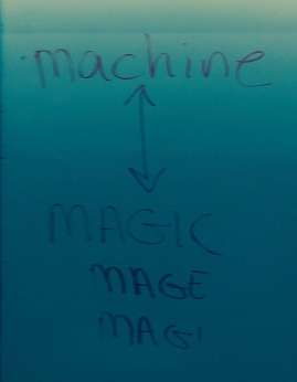 """An interesting fork in the road of a word: The original root for machine and magic is the same. It originally meant a short cut that made things (seem) easier. In time, one fork went in the direction of human contrivances that allow us to do more. The other went in the direction of """"tricks""""."""