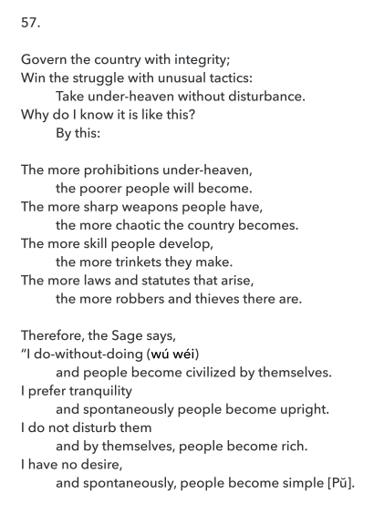 Laozi questions the prohibitions made by states and the presuppositions adopted by people. From Dào Dé Jing, Trans. with Intro. by LU Wenlong and Keith W. Brown © 2016