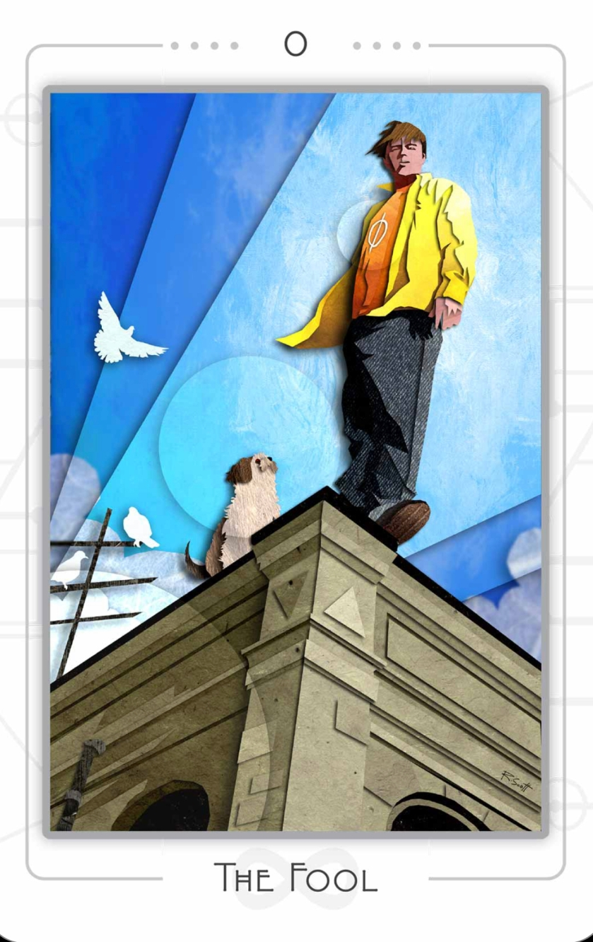 Young person in yellow jacket stands on the precipice of a building as a dove and dog watch. Portrayal of the Fool for a Queer Tarot deck.