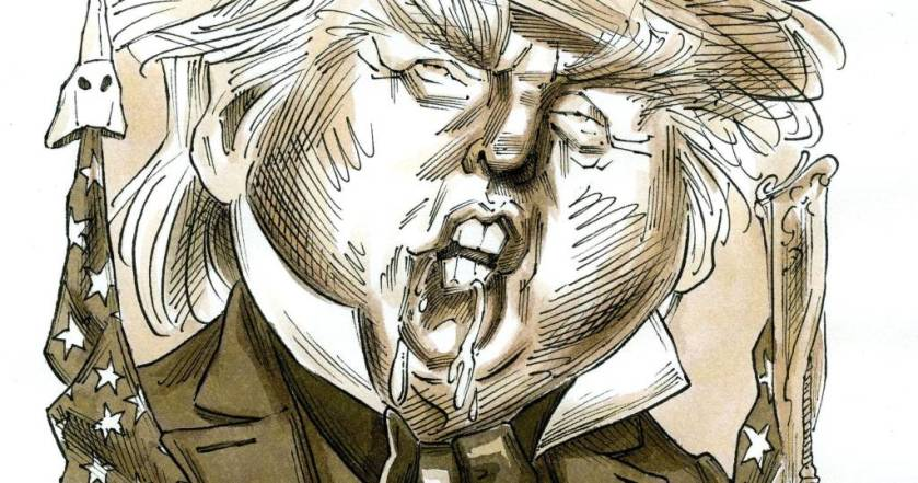 Decorative image caricaturing Donald Trump