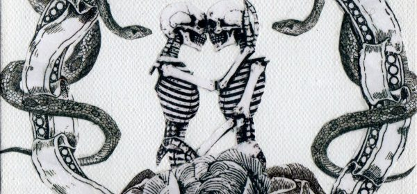 Two nongender skeletons embrace each other lovingly