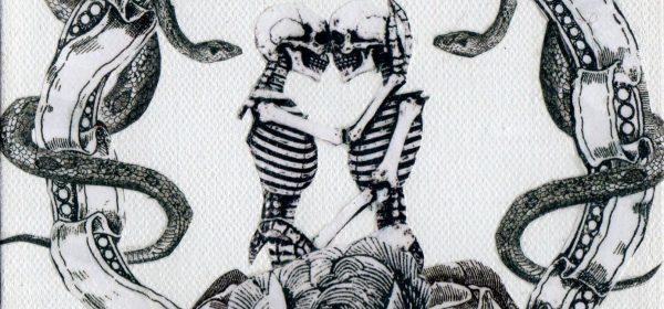 Two nongender skeletons embrace each other lovingly