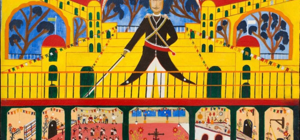 Work of art from Haiti in 1950's depicting the striated classes under the military junta.