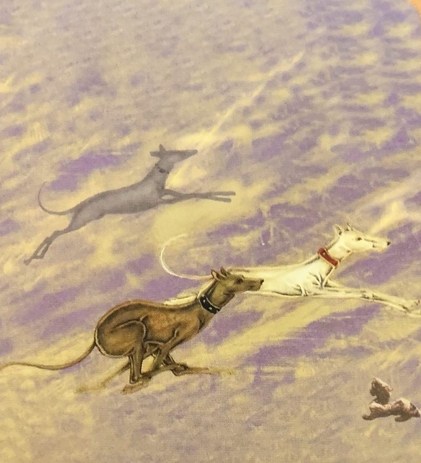 Decorative depiction of dogs chasing after something.