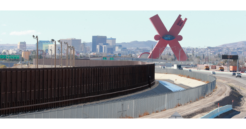A picture of the Trump border wall next to El Paso, Texas